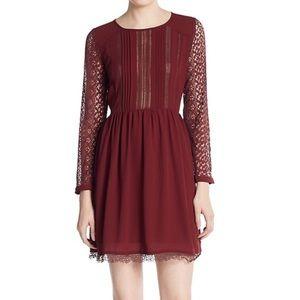 Audele Black Chiffon Lace Crochet  Dress Size M